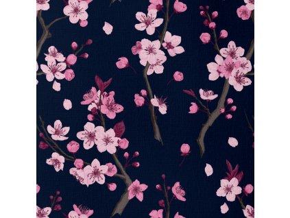 Unuo tisk, Funkční tričkovina Vernom Microfresh, Květy sakury, Černomodrá