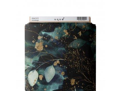 Unuo tisk, Fleece antipiling 190 g, Listy a větvičky, Černá
