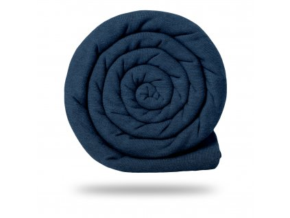 Teplákovina bavlněná počesaná 340 g, Tm. Modrá Jeans Melír