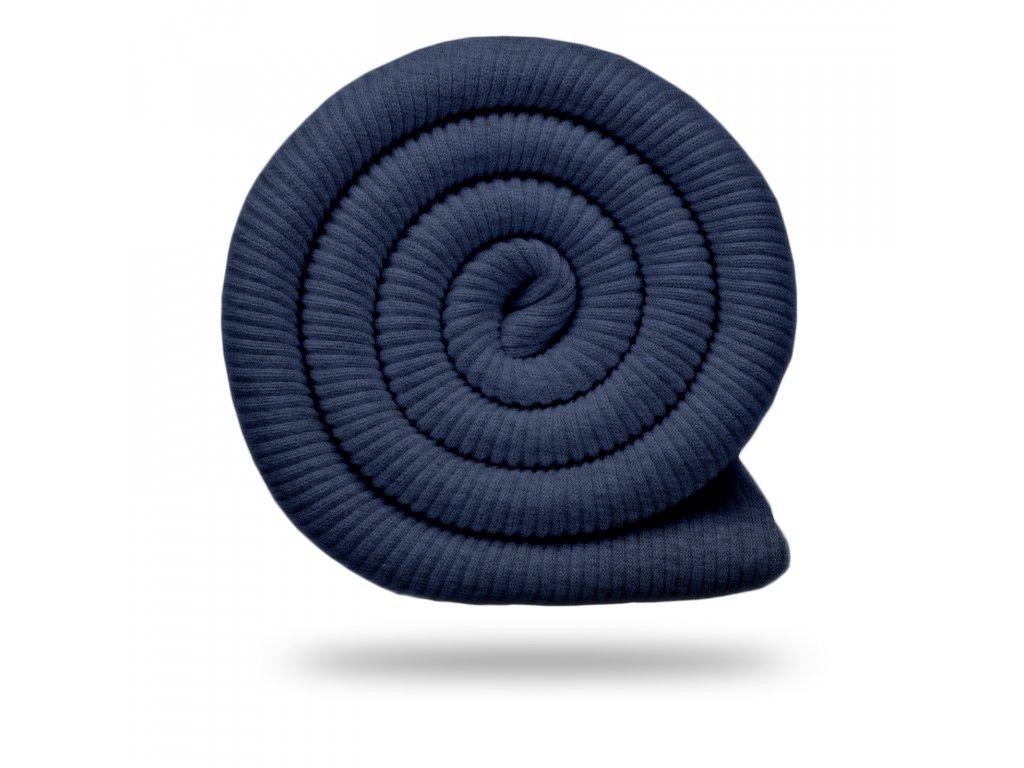 Bavlnený náplet rebrovaný / RIB 430 g, Melír Jeans Temná