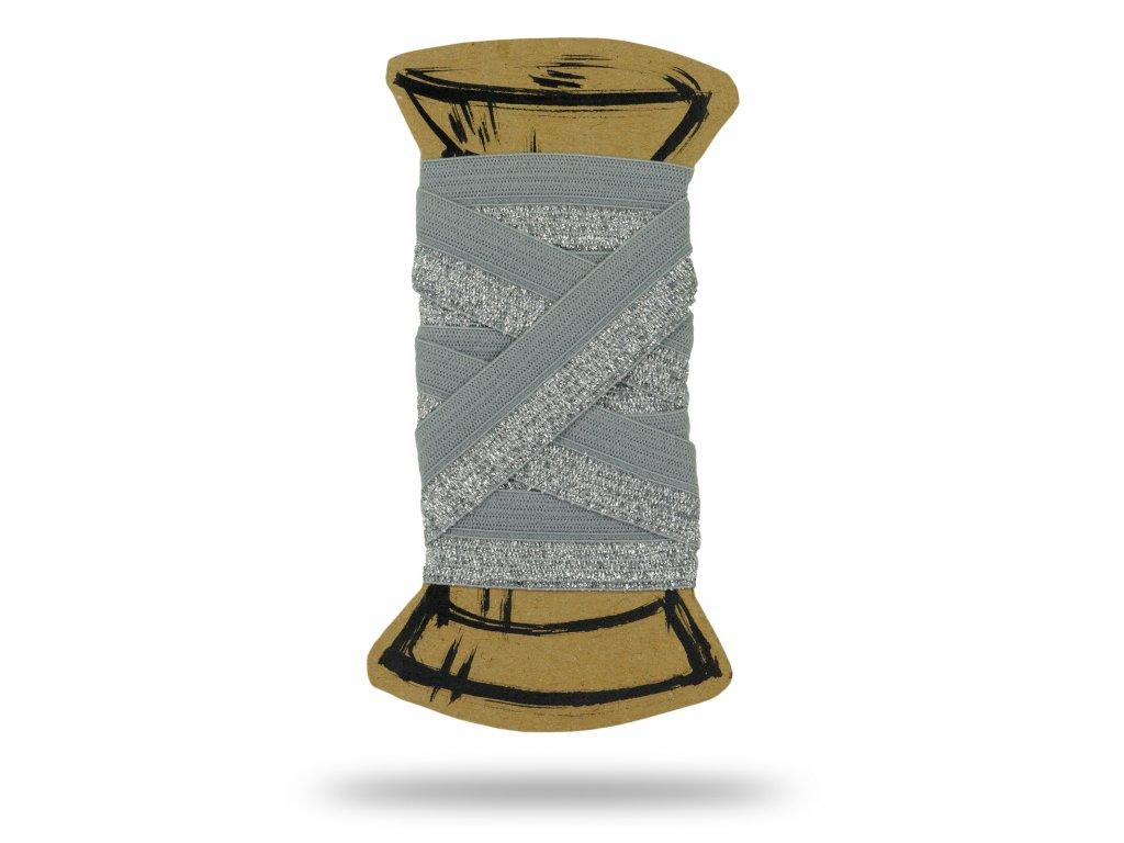 Lemovacia guma s lurexom 1,7 cm, Balenie 3 m, Šedá