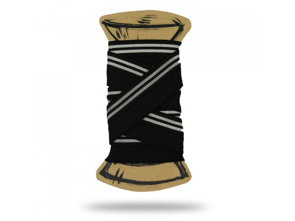 Lemovacia guma s lurexom 2 cm, Balenie 3 m, Čierna, Strieborná