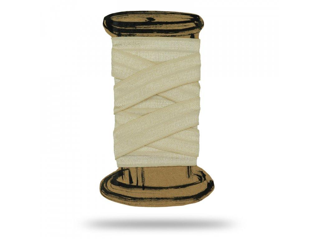 Lesklá lemovacia guma 1,6 cm, Balenie 3 m, Krémová