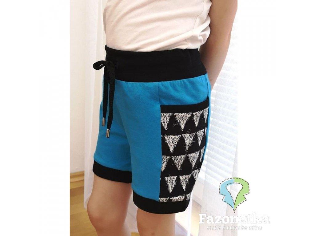 Střih v el. formátu na dětské kraťasy Montana shorts, Fazonetka 133