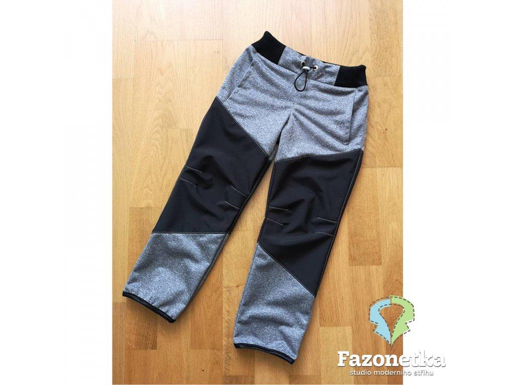 Střih v el. formátu na softshellové kalhoty Oliver, Fazonetka 102