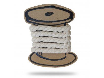 Bavlnená šnúra krútená 1 cm, Balenie 3 m, Smotanová