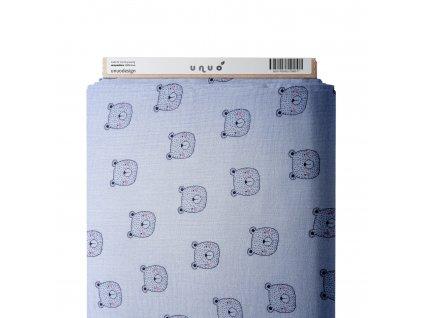 37278 5 muselin bavlneny zdobeny medvidci s ruzovymi tvaremi sv modra