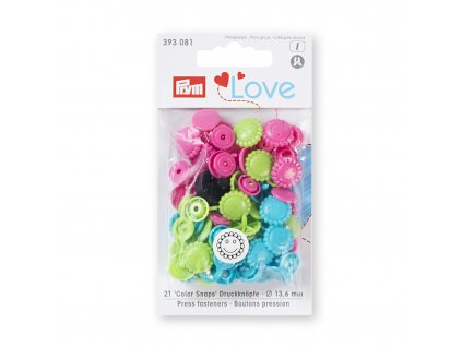 Patentky Prym Love Kvetina, Tyrkysová, Zelená a Ružová