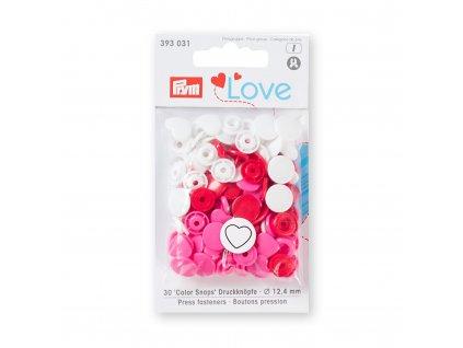 Patentky Prym Love Srdce, Červená, Ružová a Biela