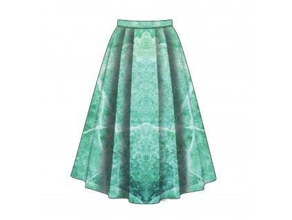 Unuo tlač, Fleece antipilling 190 g, Panel sukne, Praskliny na zelenomodré