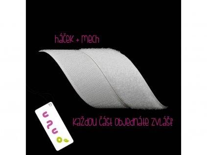 Suchý zips velúr-mach, typ O, šírka 2,5 cm, Biela