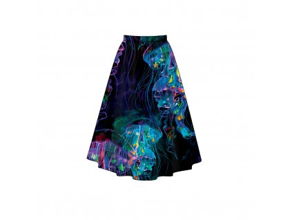 Unuo tlač, Micropeach 120 g, Panel sukňa dámská, Neónové medúzy