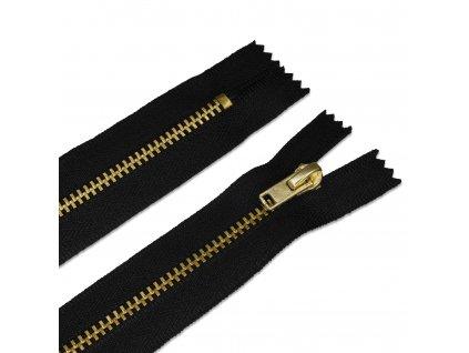 Zips mosadzný nohavicový 10 cm, Čierna