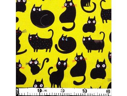 Úplet bavlnený, usmievavé mačky, žltá Výrazná