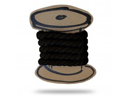Bavlnená šnúra krútená 1 cm, Balenie 3 m, Čierna