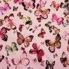 Teplákovina bavlnená nepočesaná, Motýle a vážky, Růžová Pudrová