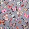 Teplákovina bavlnená nepočesaná, Motýle a vážky, Šedá Klasická
