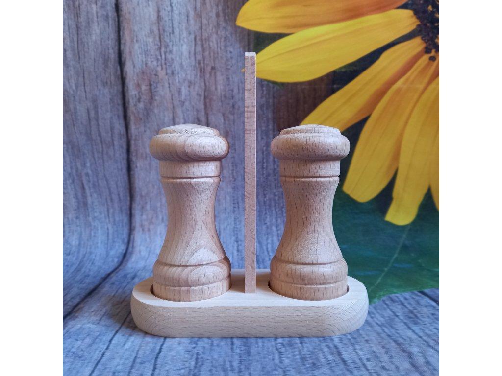 drevena slanka a peprenka se stojanem