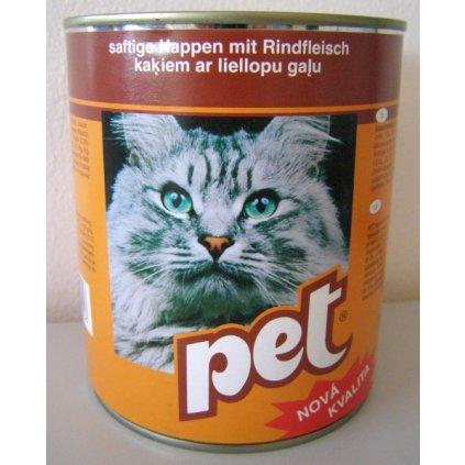 PET KATZE kostky s hovězím masem pro kočky 855g