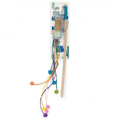 Dřevěná vábnička AFP Whisker Fiesta s hračkou z umělého lýka – se šantou