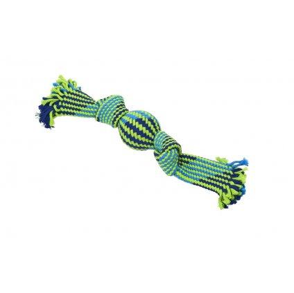 Hračka pes BUSTER Pískací lano s balonkem modrá/zelená 33cm