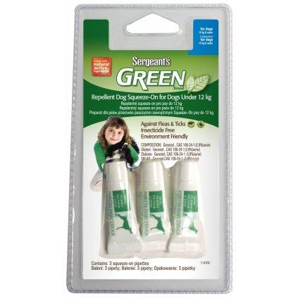 SERGEANTS Green Spot-on do 12 kg 3x1,5ml  expirace 10/2020