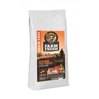 FARM FRESH Chicken & Turkey Active/Puppy Grain Free 15 kg