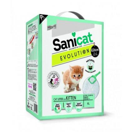 SANICAT EVOLUTION Kitten bílý, jemný, hrudkující 6 L