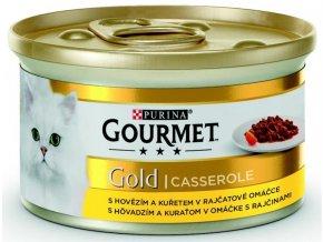 Gourmet Gold cat konz.-kousky hov.a kuře v rajčat.om. 85 g