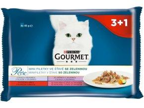 Gourmet Perle cat kaps.- Multipack filety se zel. 4 x 85 g (3+1zdarma)