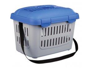 Transportní box MIDI CAPRI 44x33x32cm max.do 5kg TRIXIE - modro/stříbrná