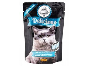 TOMI Delicious kapsička jehněčí, drůbeží, mrkev pro kočky 100g
