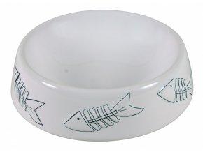 Keramická miska bílá s rybí kostrou 250 ml/15 cm