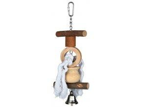 Natural Living - přírodní hračka pro ptáky se zvonkem 20cm