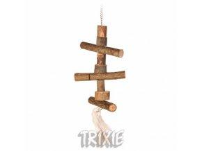Závěsná hračka z přírodního dřeva pro andulky 40cm