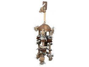 Závěsná hračka z kokosového ořechu s mušlemi a bambusem 55cm
