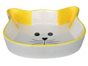 Keramická miska tvar kočičí hlava 0,25 l/12 cm - žlutá