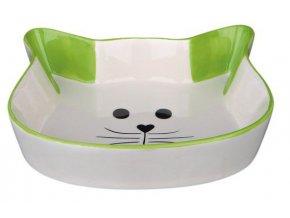 Keramická miska tvar kočičí hlava 0,25 l/12 cm - zelená