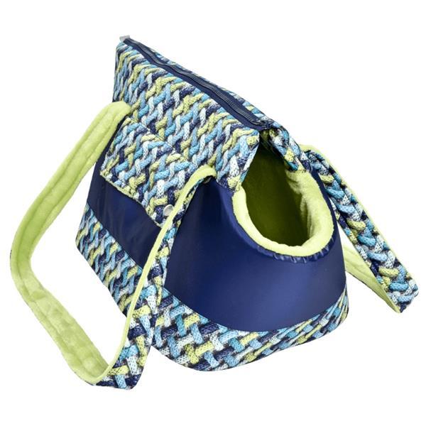 "Transportní Taška textil ""Belinda LUX"" 3D ratan modrá 30cm"