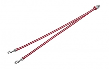 FLEXI Vario DUO Belt S - nylonová rozdvojka pro dva psy - červená