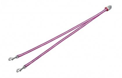 FLEXI Vario DUO Belt S - nylonová rozdvojka pro dva psy - růžová