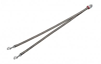 FLEXI Vario DUO Belt S - nylonová rozdvojka pro dva psy - hnědá