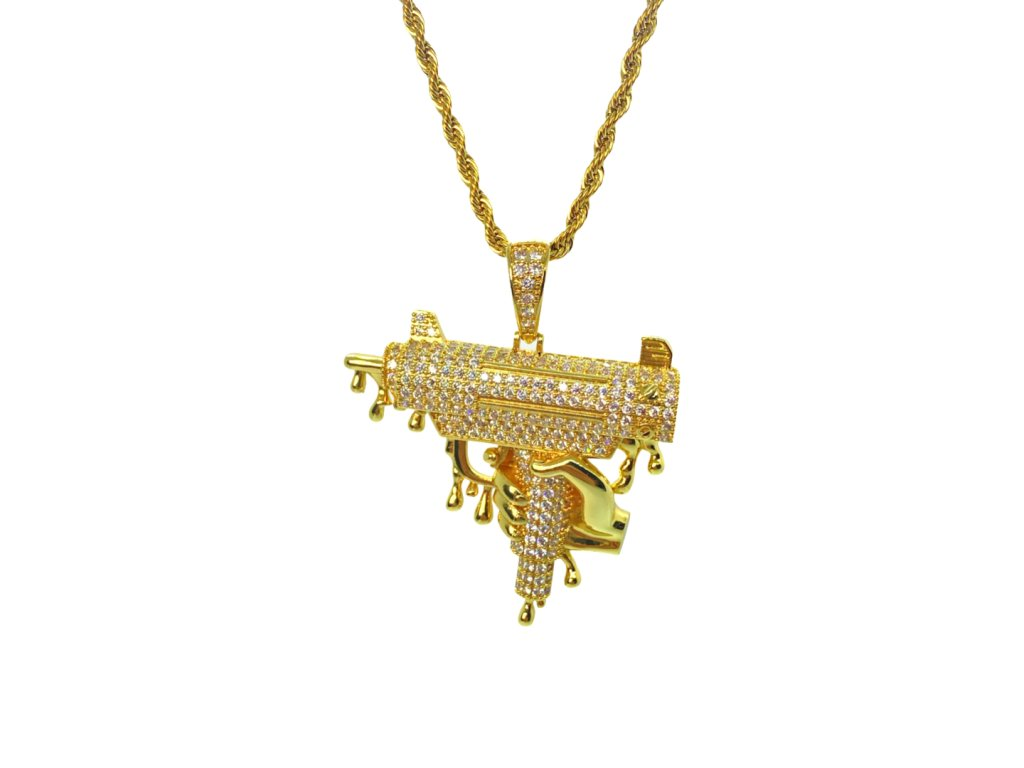 ICED OUT UZI HAND CHAIN