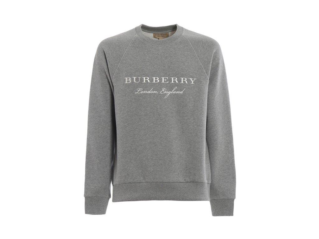 BURBERRY TAYDON EMBROIDERED LOGO GREY SWEAT