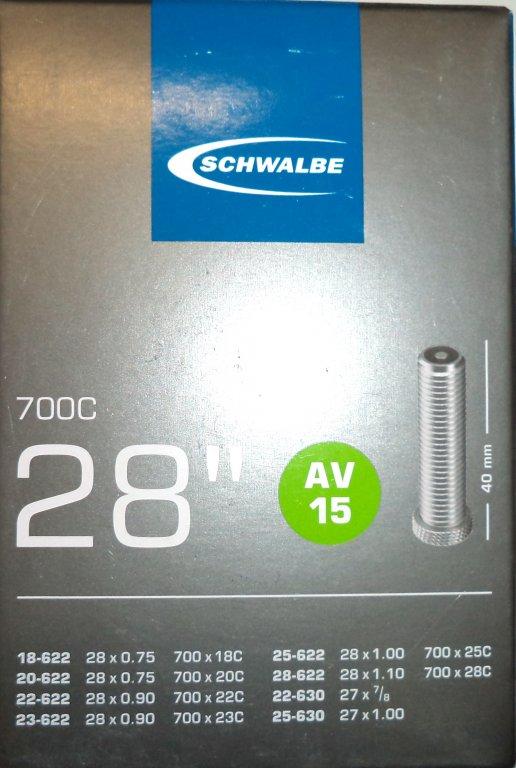 """duše SCHWALBE AV15 28""""x 3/4-1.10 (18/28-622) AV/40mm"""