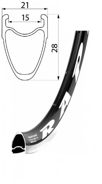 ráfek REMERX RAPID 622x15 32děr černý
