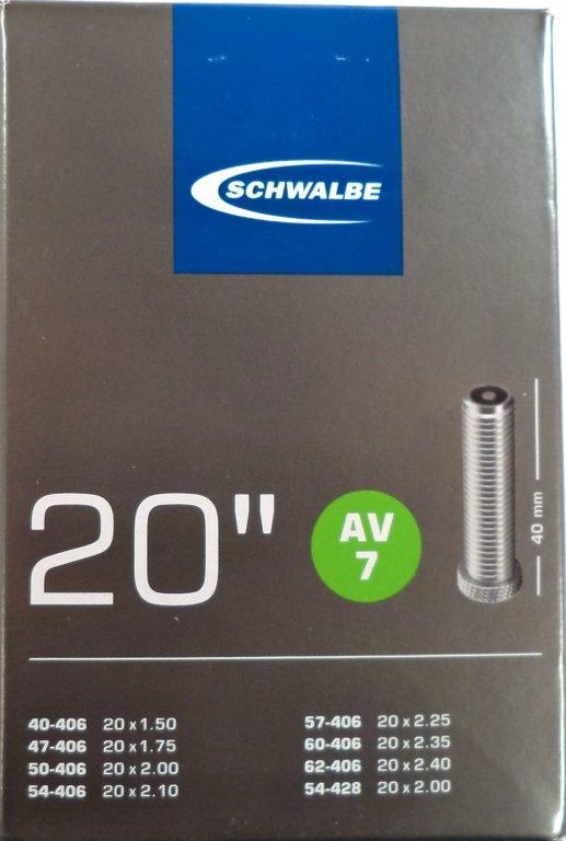 """Levně duše SCHWALBE AV7 20""""x1.50-2.00 (40-406/54-428) AV/40mm"""