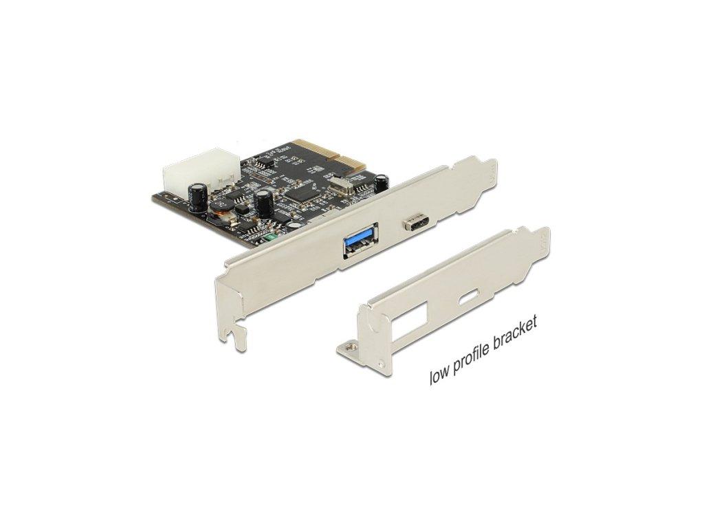 Delock PCI Express x4 Card > 1x externí USB Type-C™ samice + 1x externí typ A samice SuperSpeed USB 10 Gbps (USB 3.1)