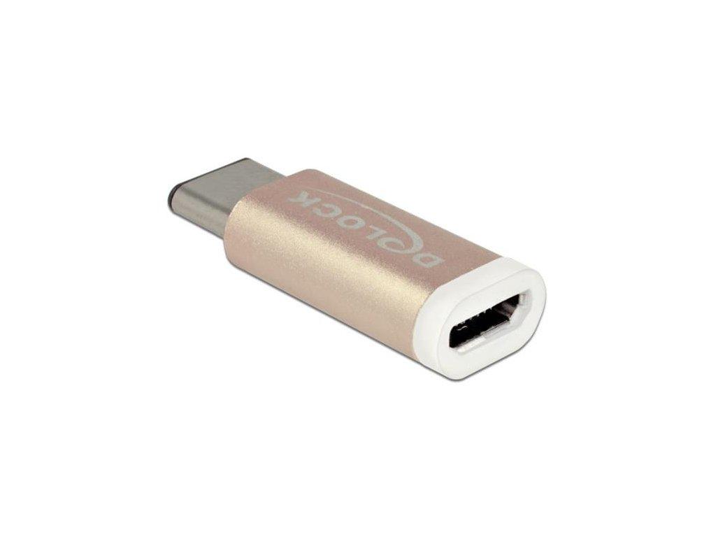 Delock měděný Adaptér USB Type-C™ 2.0 samec (host) > USB 2.0 Micro-B samice (zařízení)