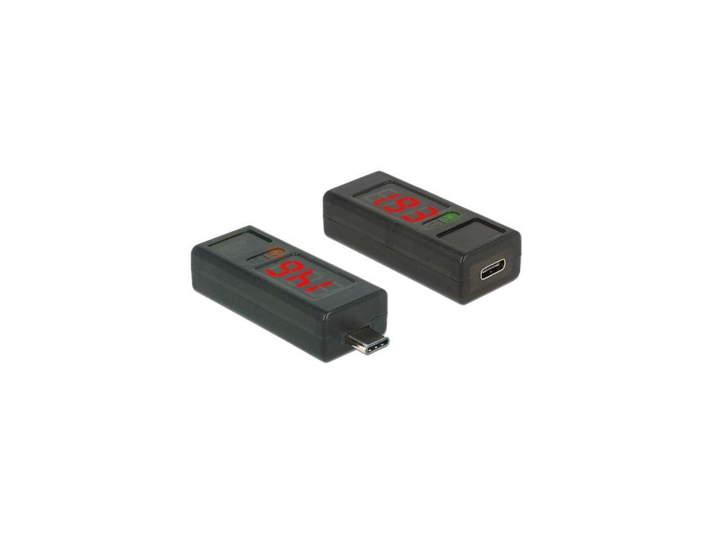 Delock USB Type-C™ Adapter s LED indikátory pro volty a ampéry